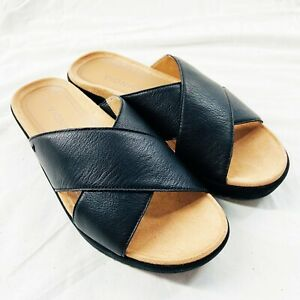 Vionic Womens Hayden Black Sandals Size 9.5 Wide