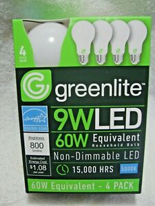 New 4 Pack 5000K DAYLIGHT 60W Equivalent Using 9W LED Indoor Non-Dimmable Bulbs!