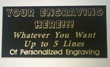 Engraved Black Brass Plate, pick size & wording, engraving plaque, award, trophy