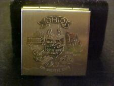 Vintage Pill Box Still Boxed Never Used Brass Stamped Ohio top  souvenir