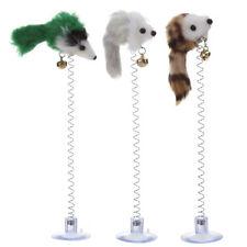 3x Fun False Mouse Cat Toy Interactive Bottom Sucker Spring Scratch Kitten Toys