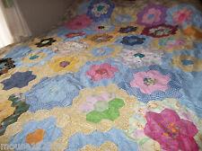 vintage quilt top pattern Hand stitched cotton nice design