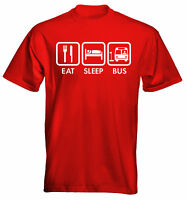 Velocitee Mens T-Shirt Eat Sleep Bus Driver Size and Colour Options