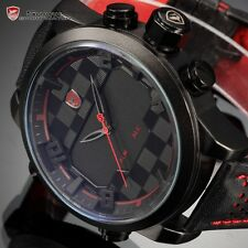 Men's Black Dial Shark Dual Time Military LED Digital Analog Leather Sport Watch