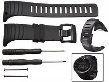 SOFT Silicone Watchband Wrist band Strap & 2 Tools For Suunto Core All Black