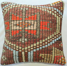 (40*40cm, 16inch) Boho hand woven kelim cushion cover textured brown orange blue