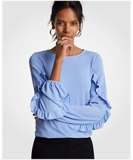 Ann Taylor Womens Size Small Long Ruffle Sleeves Career Blouse In Blue