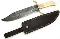 Wild Turkey Handmade Damascus Steel Collection Full Tang Bone Handle Bowie Knife