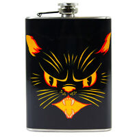 8 oz Stainless Steel Hip Flask Black Cat Halloween Liquor Gift Vintage Img Decor