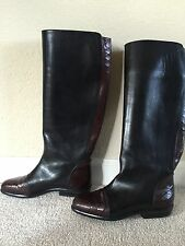 LORENZO BANFI Cole Haan Knee High Riding Boots Leather Italy Size 36 7.5 M