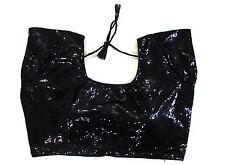 Black Sequin Belly dance Shirt tops Indian Blouse Lenght Dance Skirt Saree Sari