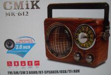 Bluetooth Radio Vintage Rechargeable AM/FM/SW1-3 USB MP3 TF 110/220V