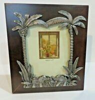 "Photo Frame JUNGLE SCENE-Elephants-Palm trees-wood-metal pewter 5"" x 7"" ""NEW"""