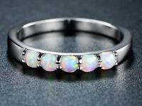 Ring Fingerring f. Damen Ring mit Weiß Opal Schmuck Kristall Weiß (8)