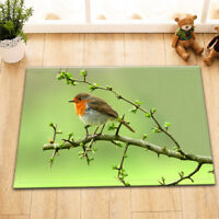 Robin Sit On Branch Room Floor Soft Carpet Non-skid Door Bath Mat Decor Rugs