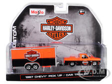 1987 CHEVROLET PICKUP TRUCK & CAR TRAILER ORANGE/ BLACK 1/64 BY MAISTO 15363-HD1