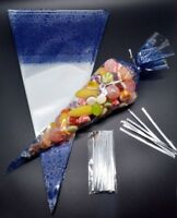 """50 - BLUE Cone Cellophane Sweet / Party Bags With 4"""" Silver Twist Ties"""