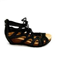 Earth Origins Womans Kendra Gladiator Lace Up Wedge Sandal Black  Sz 6.5 M