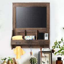 "18x23"" Rustic Wood Wall Blackboard Chalkboard Message Board with 3 Hooks Storage"