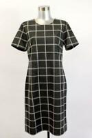 ANN TAYLOR Gray Windowpane Sheath Dress Short Sleeve Career Modern SMALL 4