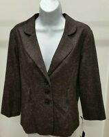 NWT $48 Speak 2 Me Women's Brown Belt Loops Waist 3/4 Sleeve Blazer Size: L