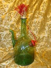 Hand Blown Italy Green Glass Wine Bottle Decanter Ice Chamber Straw Stopper 13""