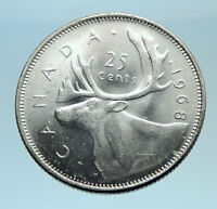 1968 CANADA United Kingdom Queen Elizabeth II CARIBOU Silver 25 Cent Coin i77524