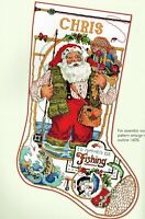 🎄 FISHING SANTA CLAUS Christmas Stocking Cross Stitch Chart Linda Gillum