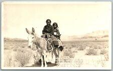 NAVAJO INDIAN GIRLS GANADO AZ ANTIQUE REAL PHOTO POSTCARD RPPC