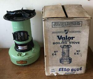 Vintage Valor Minor boiling stove No 64 G green black box Esso Blue