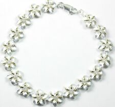 Bridal Bracelet &  Plumeria Flowers Two Tone & Cubic Zirconia Wedding Sterling