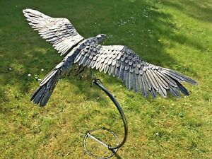Silver Eagle In Flight On Stand Garden Ornament Flying Lawn Metal Gift Present