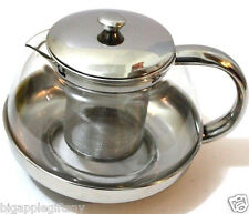 Stainless Steel Glass TEA POT Teapot w. Stainless steel Strainer filter 680ml