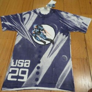 NWT USPS USA 29 Futuristic Stamp Space Fantasy 1996 VTG Collectible T-shirt Sz S