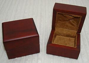 PREMIUM DARK WALNUT WOOD CHESTNUT SUEDE INTERIOR DELUXE DIAMOND EARRING BOX