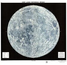 VINTAGE 1965 USAF LUNAR MOON MAP A2 POSTER PRINT