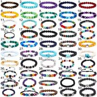Fashion 7 Chakra Healing Beaded Bracelets Natural Lava Stone Bracelets Jewelry