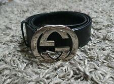 GUCCI-Unisex-Gürtel mit Silberschnalle GG-Leder-schwarz