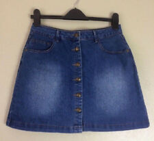 Blue Distressed Denim Button Through A Line Mini Skirt Size 12 Autumn Holiday