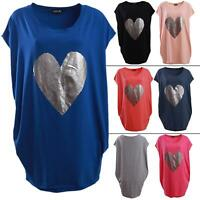 New Womens Italian Lagenlook Heart Print Cotton Baggy Shirt Tunic Top One Size