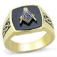 Stainless 316 Die-Cast  14 kt. IP Gold  Men's Lodge Ring Synthetic Jet Gift Box