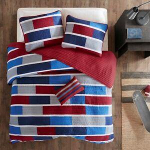 BLUE RED GRAY STRIPES QUILT SET : BRADLEY COVERLET WHITE GREY BEDDING