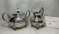 Vntg John Turton cream & sugar bowl Brittania silverware Made Sheffield England.