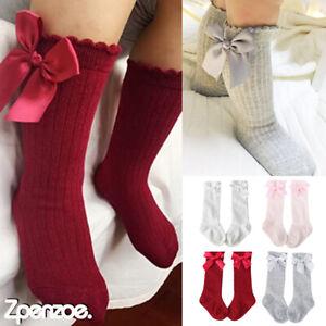 Girls Baby Kids Knee High Socks 0-4 Years Ribbon Bow Long Toddler Cotton Socks