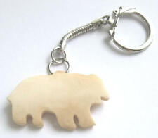 Hand Carved Buffalo Bone, Bear Design Keychain / Keyring Native American Indian