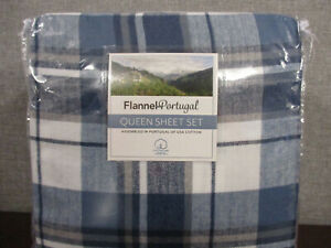 New Opened-Flannel Portugal Queen Sheet 4-Set- Blue Plaid 100% Cotton