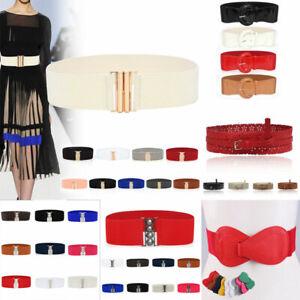 Women Ladies Wide Buckle Belt Corset Cinch Waist Belt Elastic Dress Waistband