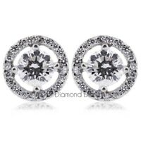 1.30ct tw F-SI2 Round Natural Certified Diamonds 14K Gold Halo Accent Earrings