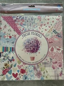 Fresh Florals 24 Sheets Double-Sided Printed Card Patterns 30 x 30cm