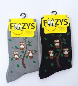 2 Pairs Women's Foozys Owl Bird On A Branch Fun Novelty Socks 1 Gray and 1 Black